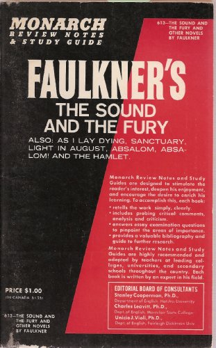 Image for Monarch Review Notes and Study Guide to Faulkner's The Sound And The Fury -Also: As I Lay Dying - Sanctuary - Light in August - Absalom, Absalom! - The Hamlet